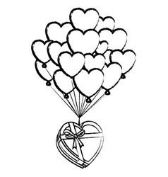 Romantic giftbox with heart balloons sketch vector
