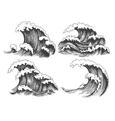 Sea waves sketch set vector