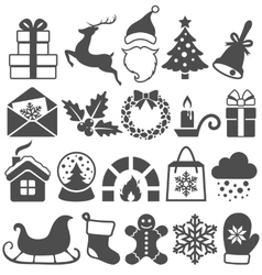 Set christmas winter flat black icons isolated vector
