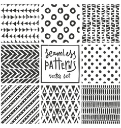 Set of 8 primitive geometric patterns Tribal vector image