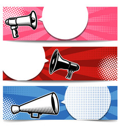 set of banner templates with megaphone for poster vector image