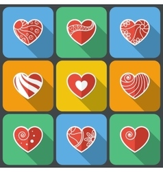 Set of Flat Heart Icons vector image