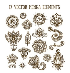 Set of henna elements based on traditional Asian vector