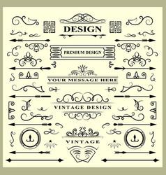 set of vintage decorations elements flourishes vector image