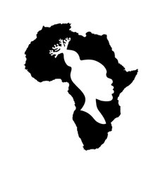 silhouette of africa with african woman inside vector image