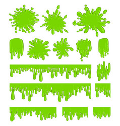 Slime green spot set vector