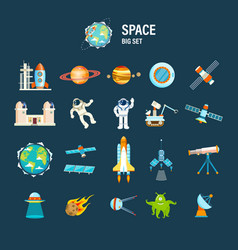 Space transport planets and related objects vector