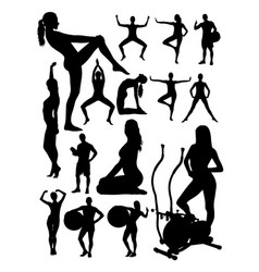 sporty people detail silhouette vector image