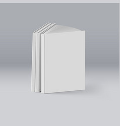 stack of white books on deep background mockup vector image