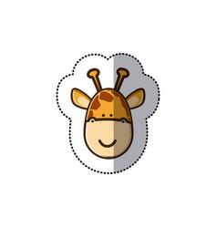 Sticker colorful picture face cute giraffe animal vector