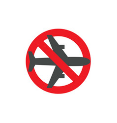 Stop airplane flyghts attention sign flight ban vector