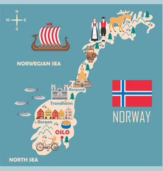 stylized map norway vector image