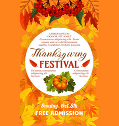 Thanksgiving day festival banner of autumn harvest vector