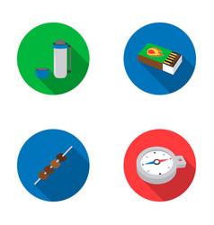 Thermos matches compass shish kebabcamping set vector