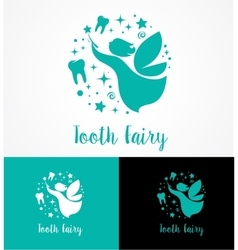 Tooth Fairy with magic wand - make a wish vector