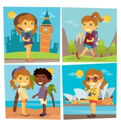 Tourist Girl Girl and Boy on the Beach Girl Travel vector