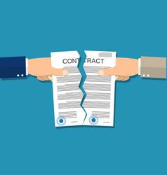 Two hands torn in half contract document vector
