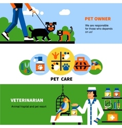 Veterinary banners with pet and veterinarian vector