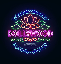 vintage bollywood movie signboard glowing retro vector image