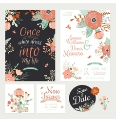 vintage romantic floral save date invitation vector image