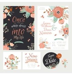 Vintage romantic floral save date invitation vector