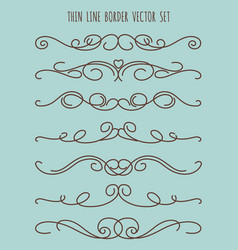 Vintage thin line border set vector