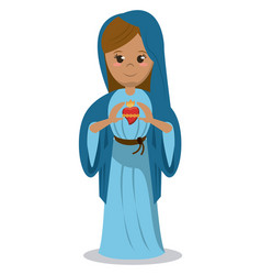 virgin mary sacred heart devotional image vector image