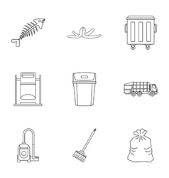Waste icons set outline style vector