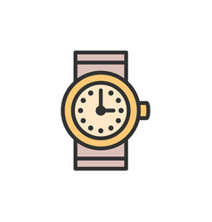 watch clock flat color line icon vector image