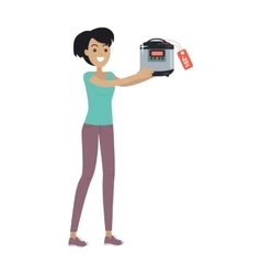 Woman with slow cooking crock pot bought on sale vector