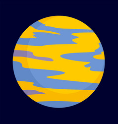 yellow planet icon flat style vector image
