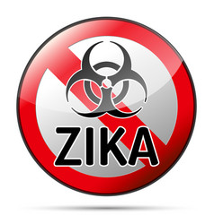 zika virus biohazard danger sign with reflect and vector image