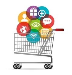 cart buy shop icons media social design vector image