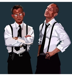 cartoon two men in white shirts and ties vector image vector image