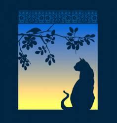 cat window vector image vector image