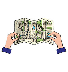hands with paper map guide icon vector image