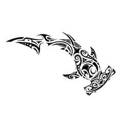 maori style hammer shark tattoo vector image
