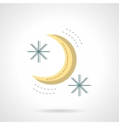 Moon and stars abstract flat color icon vector image vector image