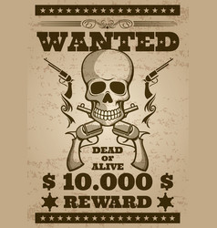 retro wanted poster in wild west thematic vector image vector image