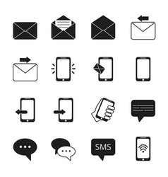 business icon set of communication symbols phone vector image