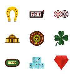 casino elements icons set flat style vector image