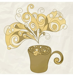 stylized cup of coffee vector image vector image