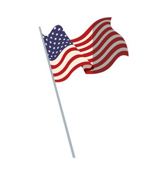 united states of america flag with pole vector image vector image