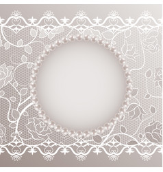 vintage card with lace and pearls vector image