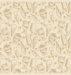 vintage dessert pattern - sketch ice cream and vector image