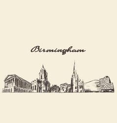 birmingham skyline west england draw sketch vector image vector image