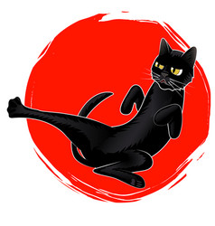 cute karate black cat on red sun logo vector image