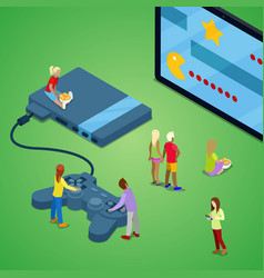 isometric people playing video games on console vector image vector image