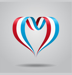luxembourg flag heart-shaped ribbon vector image vector image