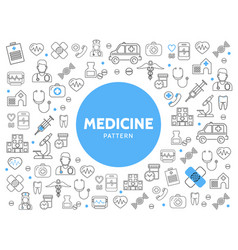 medicine line icons pattern vector image